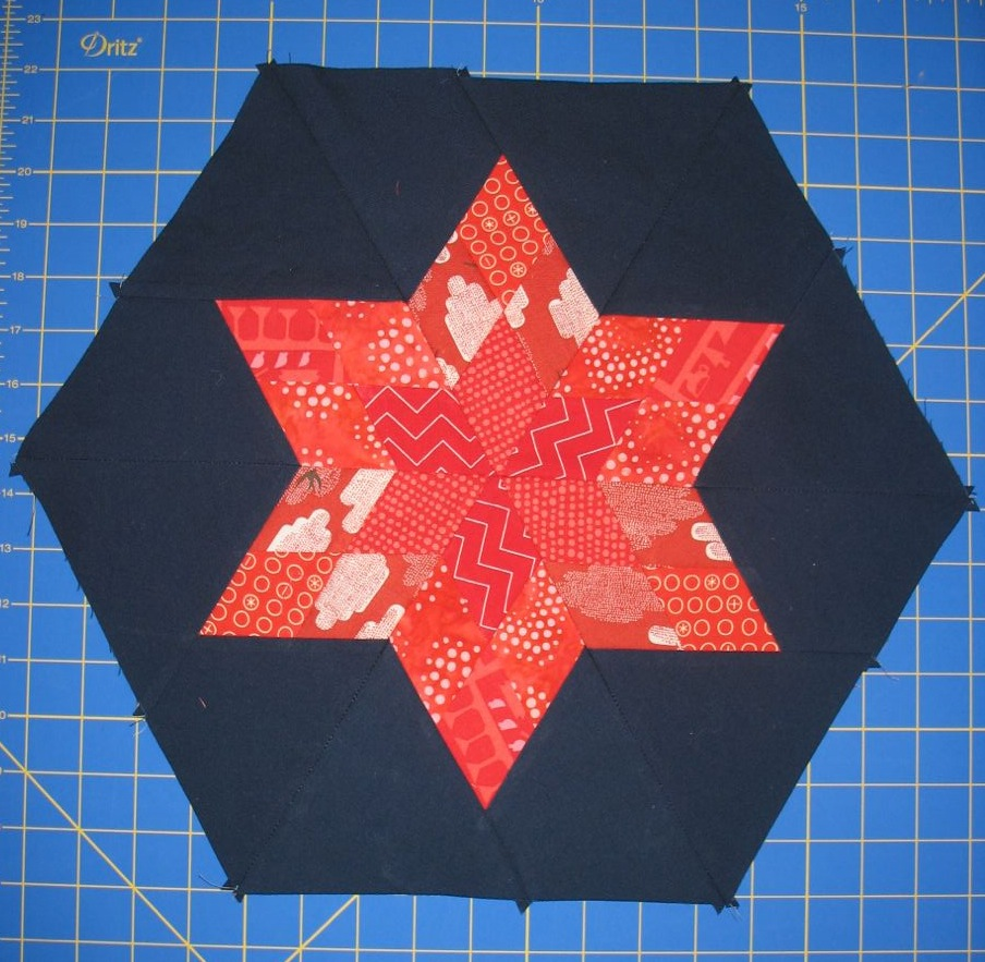 Mini Lone Star Hexie block tutorial