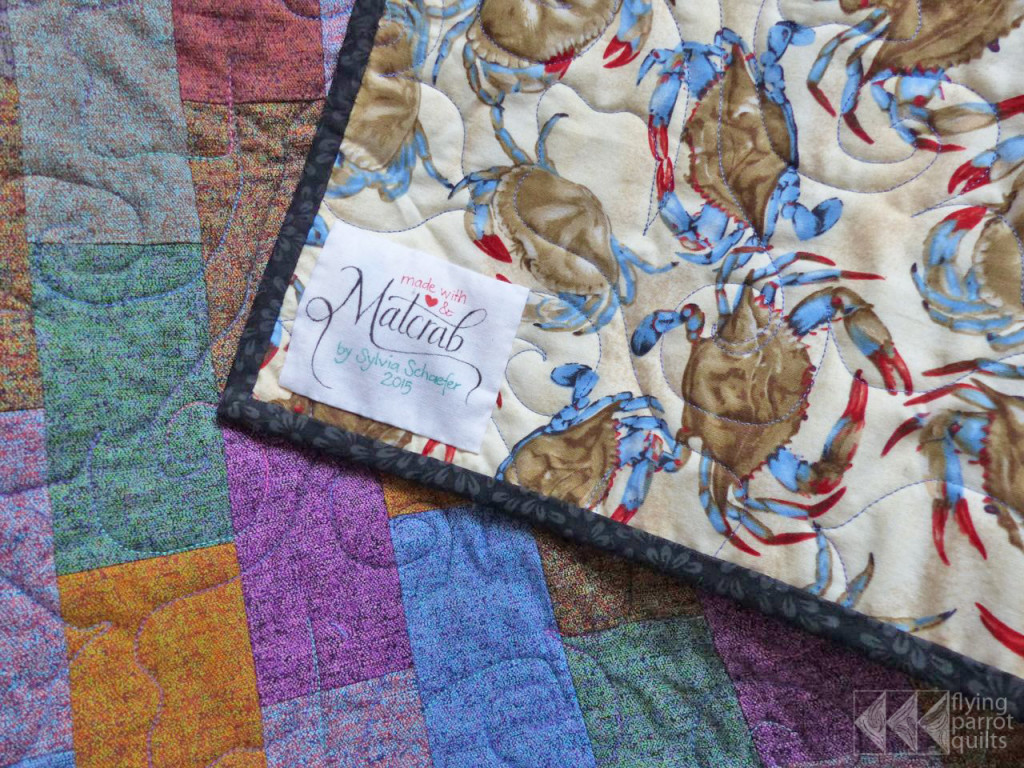 Matcrab quilt, backing and label | Flying Parrot Quilts
