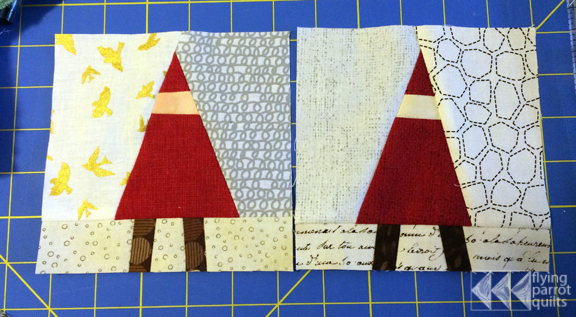 Gnomes and Trees quilt block