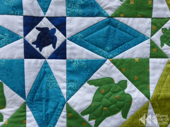Turtle Storm at Sea detail | Flying Parrot Quilts