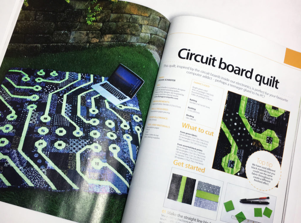 Circuit Board quilt pattern (in Quilting & Patchwork for Beginners, 3rd edition) by Sylvia Schaefer/Flying Parrot Quilts | www.flyingparrotquilts.com