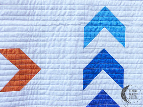 Primarily Geese/Mod Arrows quilt detail by Sylvia Schaefer/Flying Parrot Quilts | www.flyingparrotquilts.com