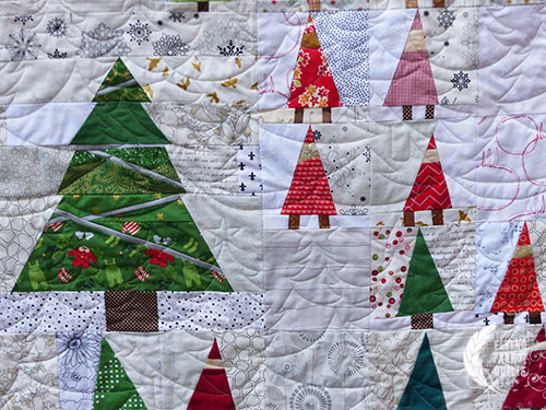 Gnome Forest, pieced by members of Stash Bee and quilted by Sylvia Schaefer/Flying Parrot Quilts | www.flyingparrotquilts.com