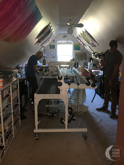 Craftsy crew filming in the sewing room by Sylvia Schaefer/Flying Parrot Quilts   www.flyingparrotquilts.com